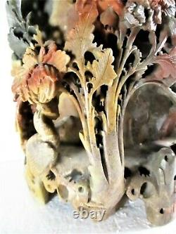 17 1/2 Pound Late 19th C Chinese Soapstone Carving Phoenix Floral Vase Near Mint