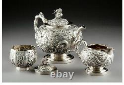 A136 A Kwan Wo Chinese Export Silver Teapot 3 piece set. Late 19th century