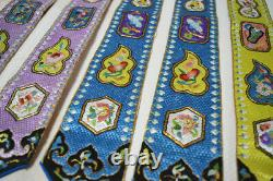 ANTIQUE 19th C LATE QING CHINESE HAND EMBROIDERED SILK FLORAL PLEATED FROGMENTS