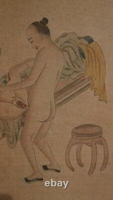 ANTIQUE CHINESE EROTIC WATERCOLOR LATE 19TH Century 1