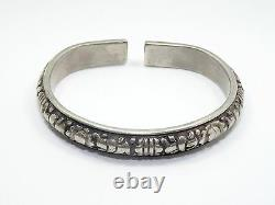 ANTIQUE CHINESE QING LATE 19c SILVER LOTUS FLORAL WEDDING BRACELET