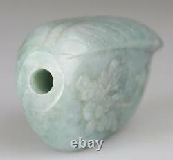 ANTIQUE CHINESE SNUFF BOTTLE JADE GREEN CORAL TOP CARVED LATE QING 19TH 20th