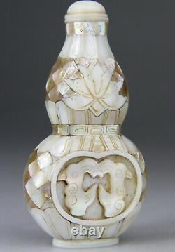 ANTIQUE CHINESE SNUFF BOTTLE MOTHER OF PEARL CARVED LATE QING 19TH 20th