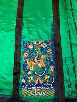 ANTIQUE LATE 19th/ EARLY 20th c QIING CHINESE EMBROIDERED SILK SKIRT EMBROIDERY