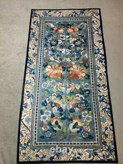 ANTIQUE LATE 19th c QIING CHINESE EMBROIDERED SLEEVE BANDS EMBROIDERY ROBE #2