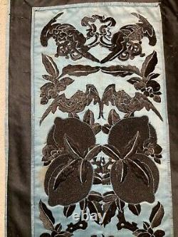 ANTIQUE LATE 19th c QIING CHINESE EMBROIDERED SLEEVE BANDS EMBROIDERY ROBE #4