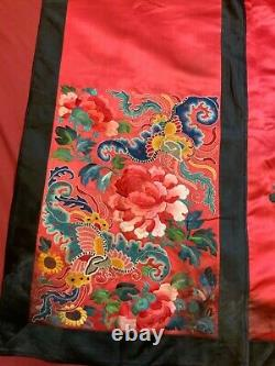 ANTIQUE LATE 19th c QIING DYNASTY CHINESE EMBROIDERED SILK SKIRT EMBROIDERY #4