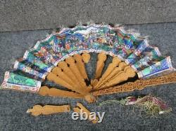 ANTIQUE late 1800s HAND PAINTED CHINESE LADIES HAND FAN, CARVED WOOD DESIGN