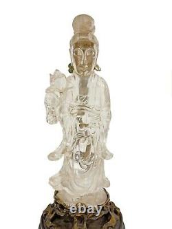 A Chinese Rock Crystal, Jade and Bronze Figure of Guanyin Lamp, Late 18th Centur
