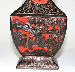 A Chinese late Qing cinnabar square shape vase with scholars scene 1074
