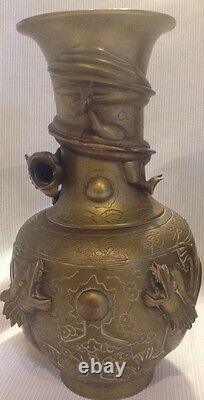 A PAIR VTG ANTIQUE LARGE CHINESE BRONZE/BRASS VASES WITH DRAGON late 1800's