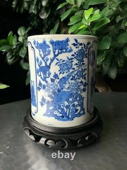A Rare Chinese Late Qing Blue and White Figural Brush Pot with Kangxi Mark