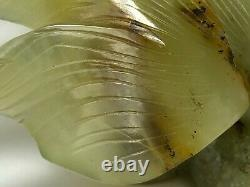 Antique 19th Century Rare Small Late Qing Dynasty Chinese Green Jade Gold Fish