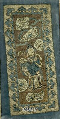 Antique 19thc Chinese Late Qing Period Silk Work Panels with Woman and Child