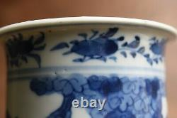 Antique Chinese Blue and White sleeve vase trumpet late Qing #655 Kangxi Style