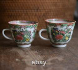 Antique Chinese Canton Rose Medallion tea set with basket 9 pieces! Late Qing