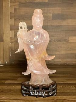 Antique Chinese Carved Kwan-Yin Rose Quartz Statue / Figure Late Qing 8
