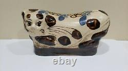 Antique Chinese Ceramic Porcelain Cat Pillow, Late Qing Dynasty
