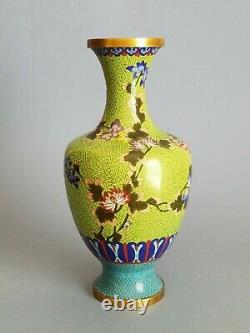 Antique Chinese Cloisonne & Yellow Enamel Vase Flower pattern, Late Qing Dynasty