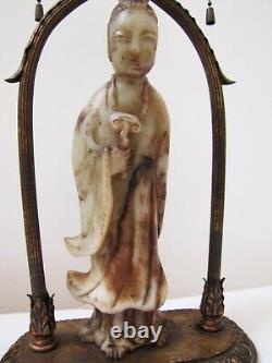 Antique Chinese Export Late 19th Century Soapstone Guanyin Statue Table Lamp