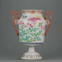 Antique Chinese Famille Rose Handle Vase 19th century Mid or Late QIng