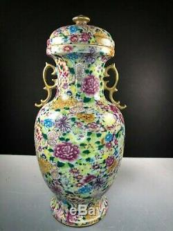 Antique Chinese Famille Rose Mille Fleur Covered Vase Late Qing Dynasty
