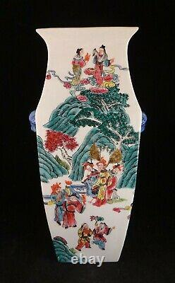 Antique Chinese HP Tall Porcelain Vase. 16 t. Late Qing/early Republic periods