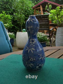 Antique Chinese Late 19thC Qing Small Double Gourd Prunus Blossom Vase -16 cms