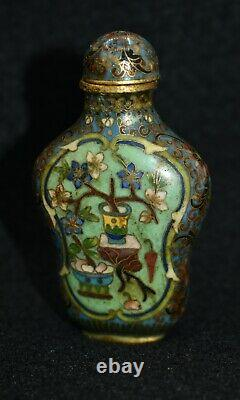 Antique Chinese Late Ching Period Cloisonne Snuff Bottle from Penang, Malaysia