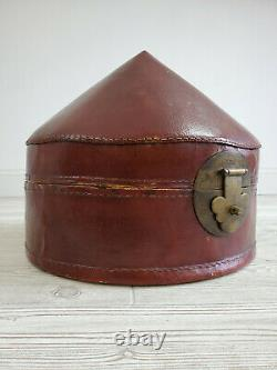 Antique Chinese Leather Pointed Hat Box Late 19th Century /m