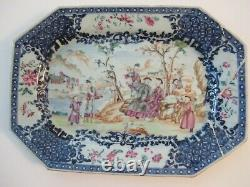 Antique Chinese Octagonal Platter Late Qing Qianlong Famille Rose Early 19th cen