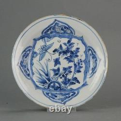 Antique Chinese Porcelain 17C Late Ming Transitional Dish Butterfly Flower