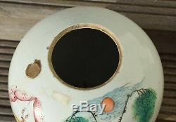 Antique Chinese Porcelain Ginger Jar with wooden lid Late Qing or Republic
