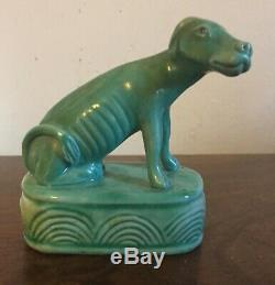Antique Chinese Porcelain Hound Figure Dog Figurine Turquoise Late 19th c. #2