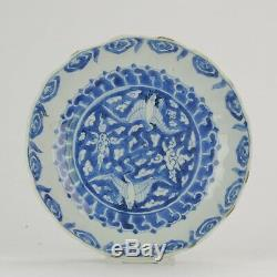 Antique Chinese Porcelain Late Ming Transitional Ca 1600 Crane Birds Mar