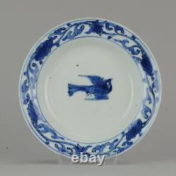 Antique Chinese Porcelain Late Ming Wanli Tianqi or Transitional Bird Pl