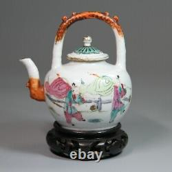 Antique Chinese Porcelain Teapot With Wooden Stand Late Qing Dynasty