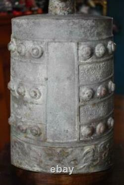 Antique Chinese Qing Or Late Ming Lg Bronze Buddhist Temple Bell W Fitted Stand