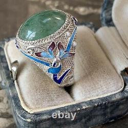Antique Chinese Silver Jade Enamel Filigree Ring, Art Deco late Qing Dynasty