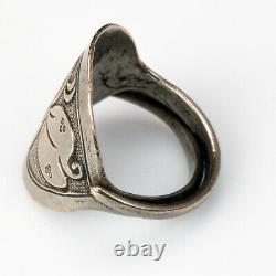 Antique Chinese Silver Ring with Flower Design late 19th Century