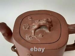 Antique Chinese Yixing Teapot & Cover Signed Yufeng Prunus Trunk & Bat Late Qing