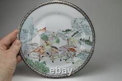 Antique Chinese c1900 Late Qing Dynasty Famille Rose Pair Plates Warriors Horses