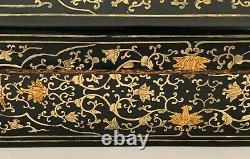 Antique Chinese lacquered opium pillow box, late 19th century domed oblong box
