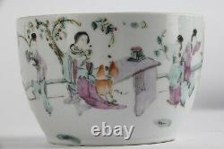 Antique Chinese porcelain cup late Qing famille rose 19th 20 C marked tea bowl