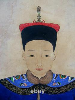 Antique Chinese portrait of a Judge, 19th century, late Quing dynasty