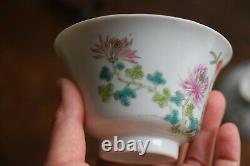 Antique Chinese teacup with cover in famille rose, Late Qing / Republic #712