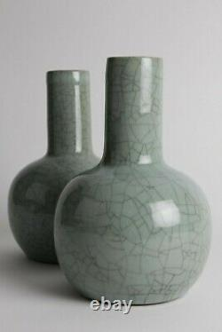 Antique Chinese vases, late Qing Chinese vases, Celladon, crackle vases