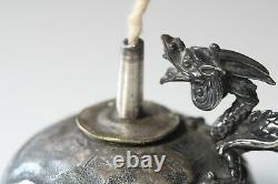 Antique Late 19thC Derby Silver Co. Silverplated Chinese Style Dragon Cigar Lamp