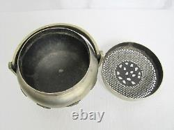 Antique Late 19th-20th Century Chinese White Bronze or Pewter Portable Hand Warm