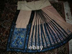 Antique Late 19th C. Chinese Silk Skirt Butterfly Motif